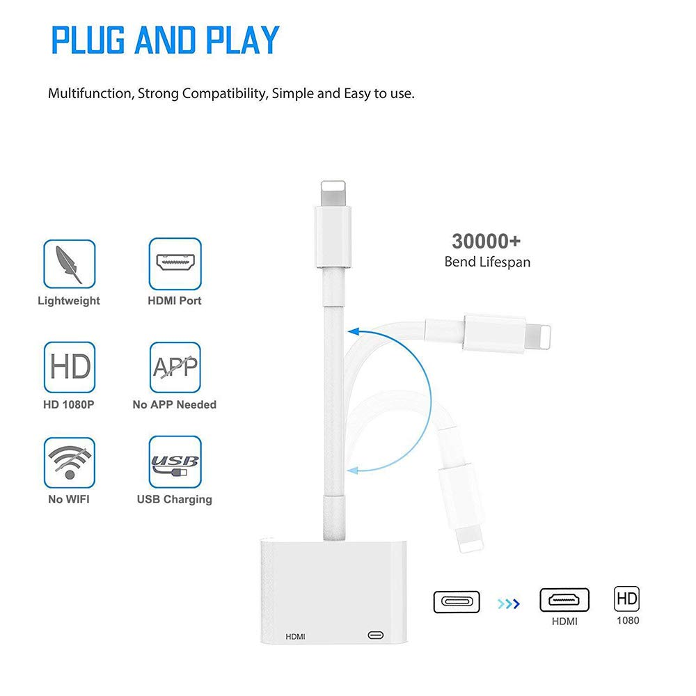 Hoidokly Phone to HDMI Adapter 1080P Digital AV Adapter Sync Screen HDMI Connector Compatible with Phone XS//XR//X//8//7//6//5 Series//Pad Air//Mini//Pro//Pod Touch