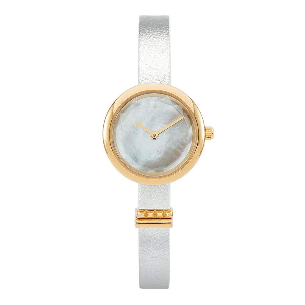 女性のクォーツ時計、シンプルな薄い革のストラップの女性は狭い本革ストラップクォーツ時計の女の子のファッション超薄型腕時計 白い