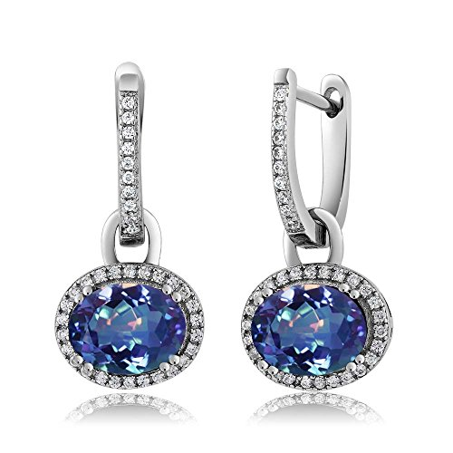 Gem Stone King Sterling Silver Stunning Oval Gemstone Birthstone Dangling Earrings from Gem Stone King