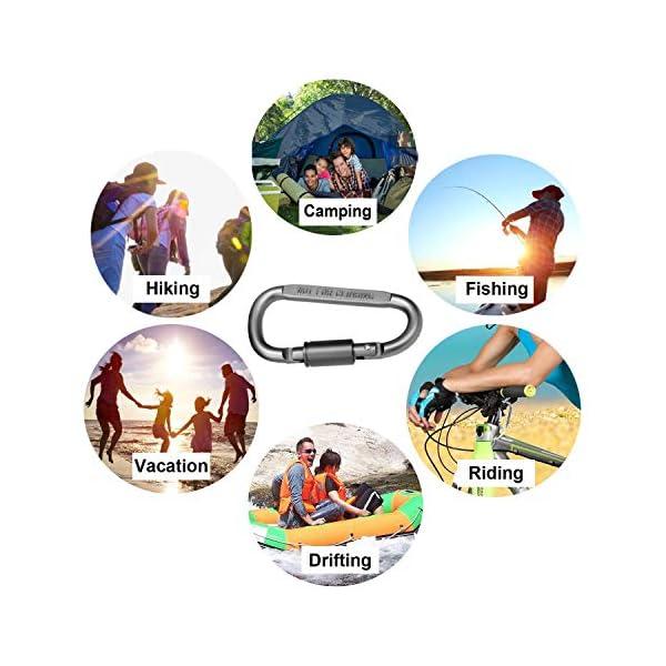 Zindoo Mosqueton Auxiliar Para Accesorios, Pequeño Mosquetón de alta Resistencia y Duradero, para Camping, aire Libre, Pesca, Mochila, Senderismo(8PCS) 3