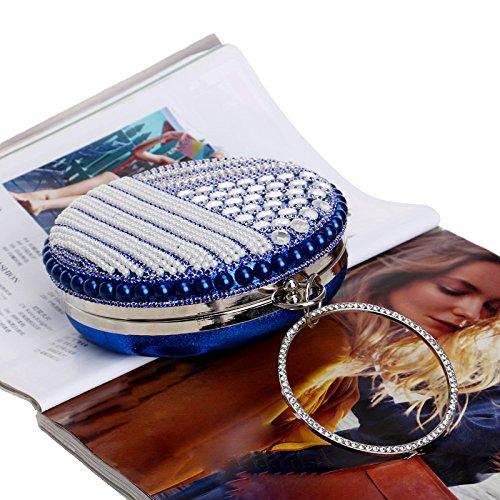 Dames Sac De Pour Prom Blue Party Nuptiale Circulaire Bandoulière Soirée Glitter Main À Cadeau Perlé Mariage Femmes Clubs Pochette Diamante Perle FUqO4