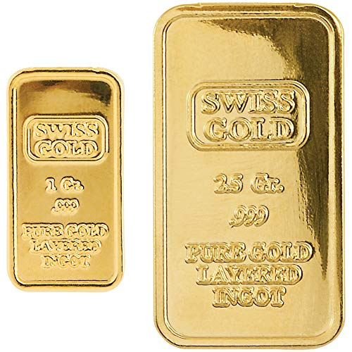 American Coin Treasures Ingot Replica Bundle 24K Gold Plated Swiss Brass Tribute & Blue Velvet Pouch