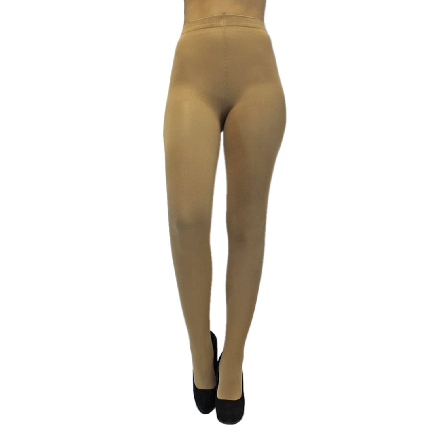 Nude Beige Opaque Stretchy Pantyhose Tights at Amazon Women's ...