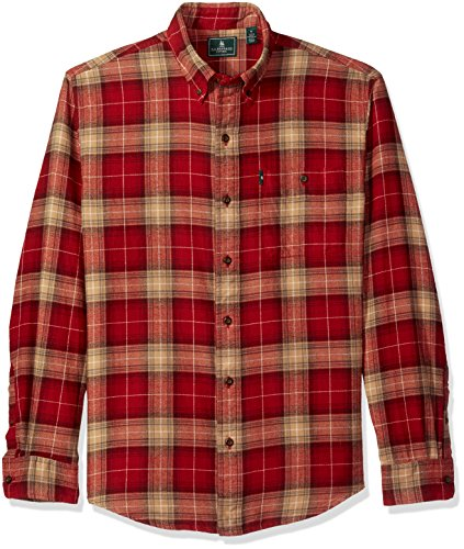 Flannel Long Sleeve Shirt - G.H. Bass & Co. Men's Fireside Flannel Long Sleeve Button Down Shirt, Sundried Tomato, Large