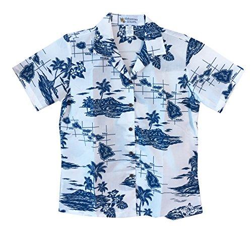 Women's Islands Map Cruise Luau Hawaiian Aloha Shirt (XL, Navy)