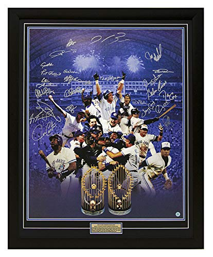 Toronto Blue Jays World Series Team Autographed Signed By 25 Back To Back Champs 34x42 Frame - Certified Authentic (Toronto Blue Jays Back To Back World Series)