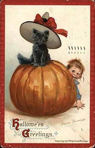Halloween Greetings. Pumpkin with Black Cat Sitting on Top Original Vintage Postcard ()