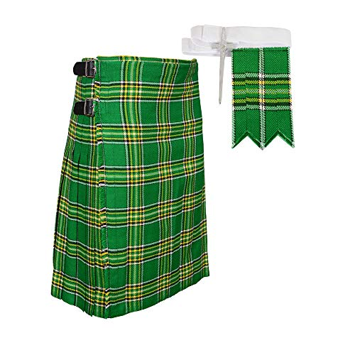 Traditional Irish Tartan Plaid Kilt FREE Flashes & Kilt Pin (Belly Button Measurements 34) - Kilt Irish