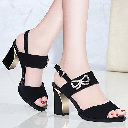 HBDLH Calzado de mujer/transpirable/cómodo/9 Cm De Tacon Cinturon Sandalias Tacones Altos Las Mujeres Los Dedos De Los Pies Zapatos De Verano Roma. black