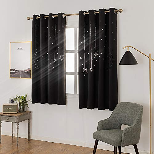 MANGATA CASA Star Blackout Curtains Grommet Thermal 2 Panels for Kids Bed Room,Cutout Galaxy Window Curtain Darkening Drapes for Nursery Living Room(Black 52x63in)