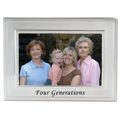 Lawrence Frames Sentiments Collection, Brushed Metal 4 by 6 Four Generations Picture Frame ()
