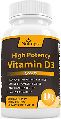 High Potency Vitamin D3 (Cholecalciferol) 5,000 IU 360-Day Supply Supplement - The Formula Helps for Healthy Bones and Teeth + Calcium Absorption + Immune systems(360 Softgel) (Time Release Calcium + D compare prices)