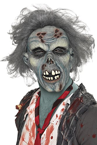 Halloween Masks - Smiffy's Men's Decaying Zombie Mask, Grey, One Size, 36852