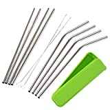 Mudder 8 Pack Stainless Steel Drinking Straws with Cleaning Brushes and Portable Storage Box