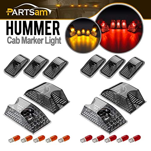 Partsam 10pcs 264160BK Smoke Cab Marker Top Roof Running Whole Assembly Set Crystal Chrome Lights + T10 Halogen Bulbs (5X Amber + 5X Red) Compatible with Hummer H2 SUV SUT 2003-2009