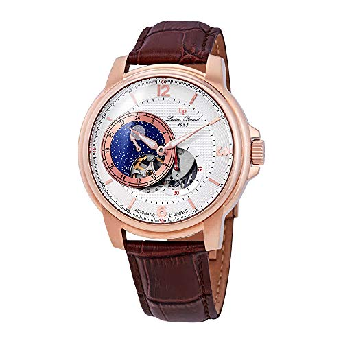 Lucien Piccard Men's 'Nebula' Stainless Steel and Leather Automatic Watch, Color:Brown (Model: LP-15156-RG-02S-BRW)