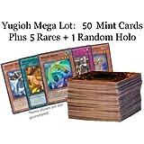 Lot of 50 Mint YuGiOh! SUPER Mega Cards Plus 5 Rares PLUS 1 Holo Rare Cards Inserted!