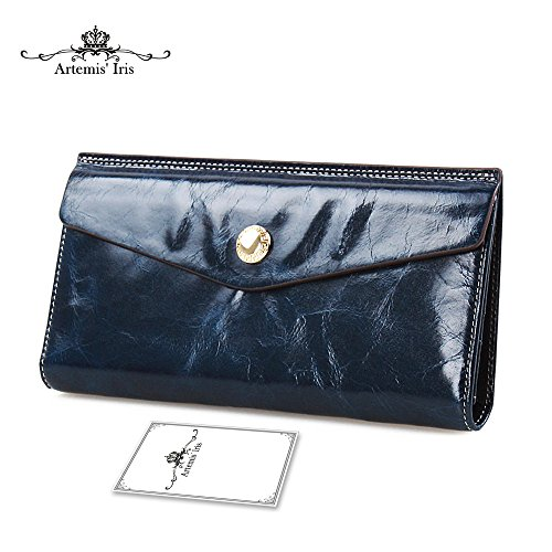 f3fcb254a685 Artemis'Iris Womens Luxury Wax Genuine Leather Wallet Evelope Clutch Multi  Card Slots Money Holder Travel Long Purse Lady Handbag, blue