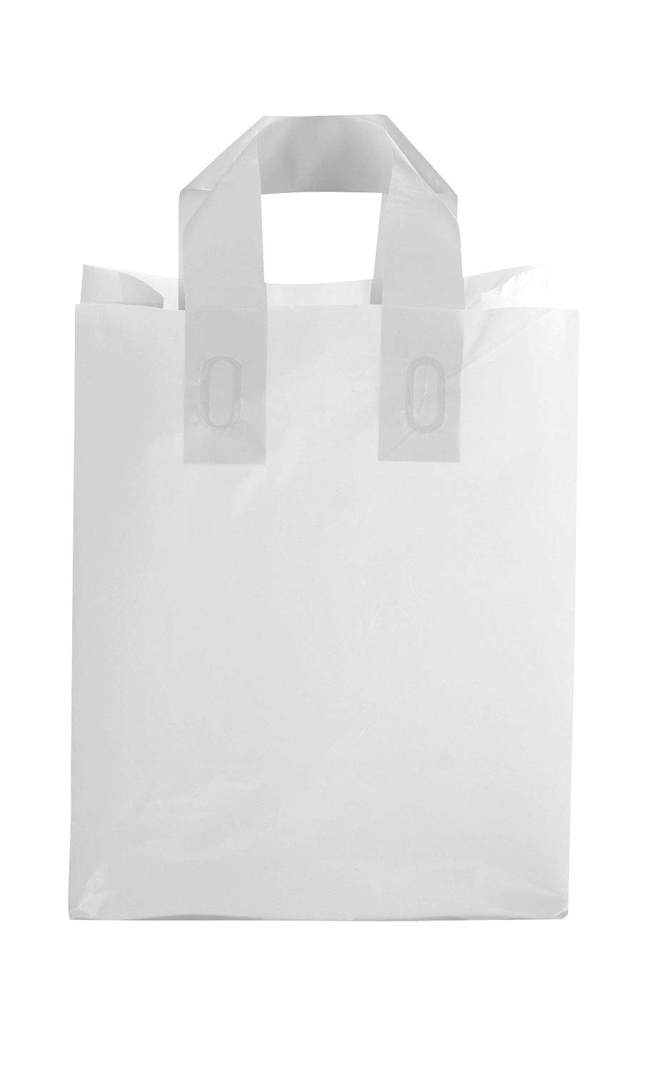 SSWBasics Medium Clear Frosted Plastic Shopping Bags - 8'' x 5'' x 10'' - Case of 100