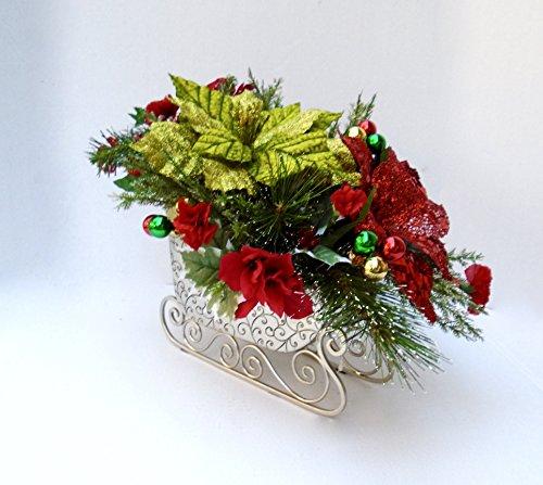 Adorable Christmas Sleigh with Poinsettias