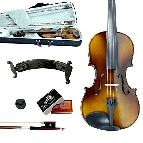 Sky Guarantee Sound 1/4 Size Student Beginner Violin Fiddle Outfit Natural Solid Maple Back Spruce Top with Case, Shoulder Rest, 2 Bows, Rosin and Mute by Sky