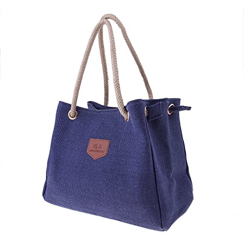 Homyl Casual Canvas Bag as Large Fashion Zipper Capacity Handbags Blue Shoulder Gray described Women Tote rtqwHrpxB