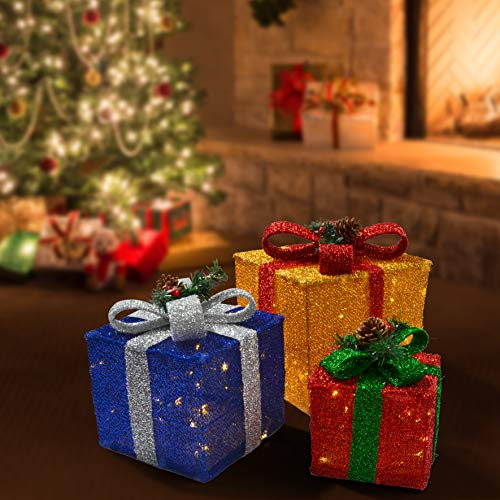 JOYIN Deluxe Lighted Gift Boxes for Christmas Decoration with Total 150 LED Lights