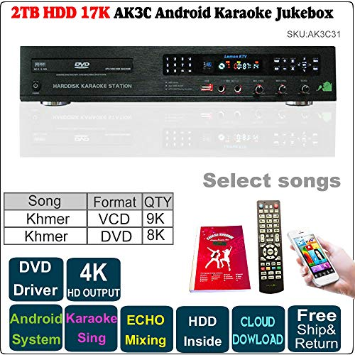 - 2TB HDD 17K Khmer/Cambodian VCD DVD Songs,Android Karaoke Machine, Jukebox, ECHO Mixing,DVD Driver,Songbook and Remote Controller Included.
