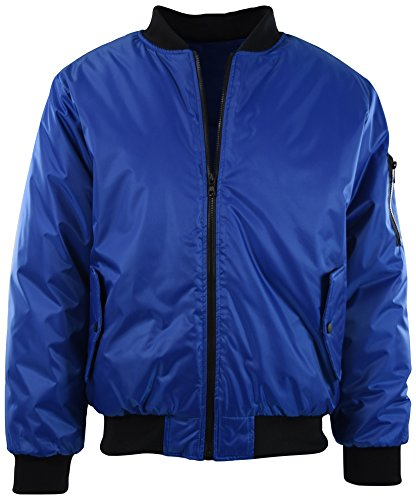 Mens Premium Quality Bomber Flight Jacket (L, 5308-Royal Blue) ()