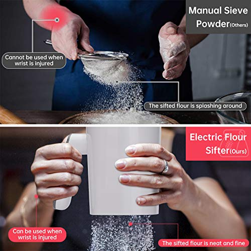 Flour Sifter,HYCBTC,Battery Operated Flour Sifter for Baking Almond Flour and Powdered Sugar,Baking Sifter with 20 Mesh Stainless Steel Sieve, 4 cup Flour Sieve Easy to Clean…
