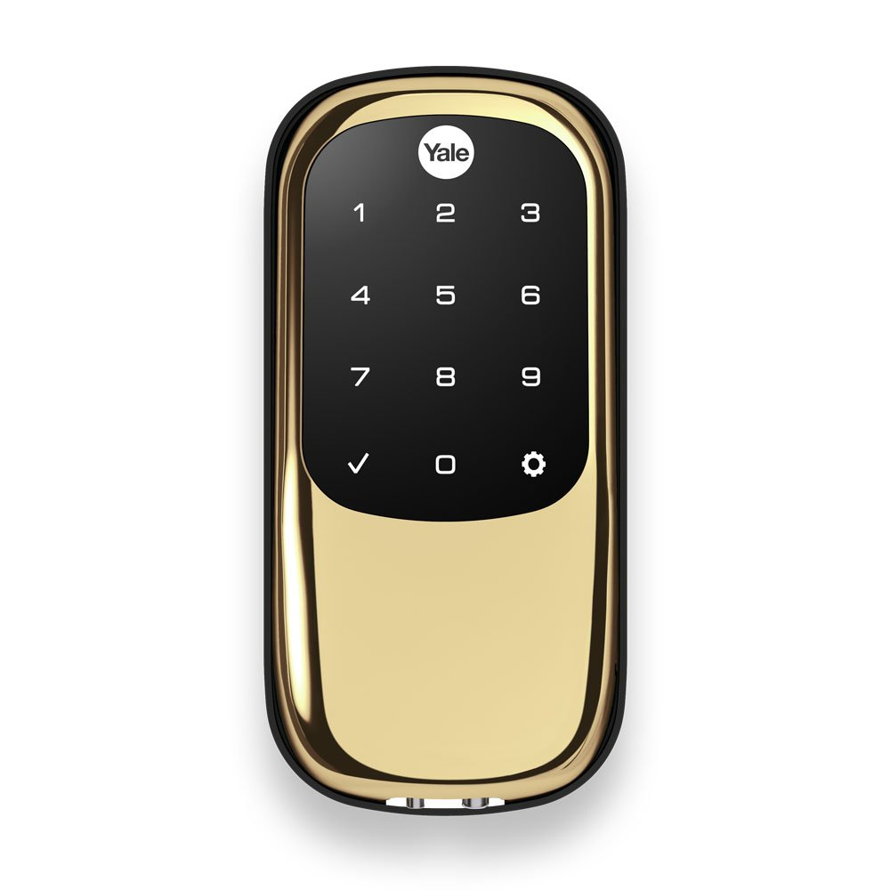 Yale Key Free Touchscreen Deadbolt with Z-Wave in Polished Brass -Works with Amazon Alexa via SmartThings or Wink (YRD240-ZW-605)