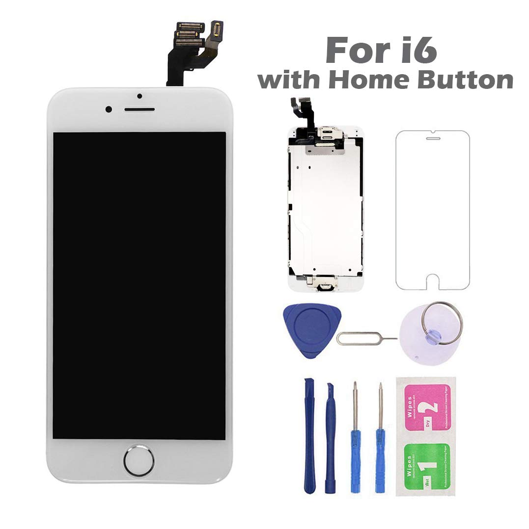 for iPhone 6 Screen Replacement with Home Button, Arotech 4.7 Inch Full Assembly LCD Display Digitizer Touch Screen with Repair Tool Kit and Tempered Glass Compatible with A1549 A1586 A1589 (White)