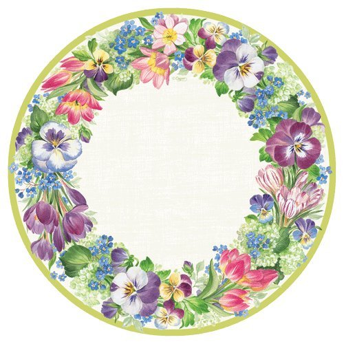 Entertaining with Caspari Entertaining Dinner Plates, Spring Garland, Pack of 16 - Floral 1 Dinner Plate