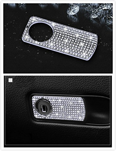 Boobo Ice Out Passenger Side Storage Box Handle Locker Cover Trim Bling Emblem With Genuine Austrian Crystal For Mercedes Benz E C GLC (Silver) ()