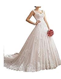 XYHDTQ Luxury Lace Applique Princess Wedding Dresses Chapel Train Bridal Gown
