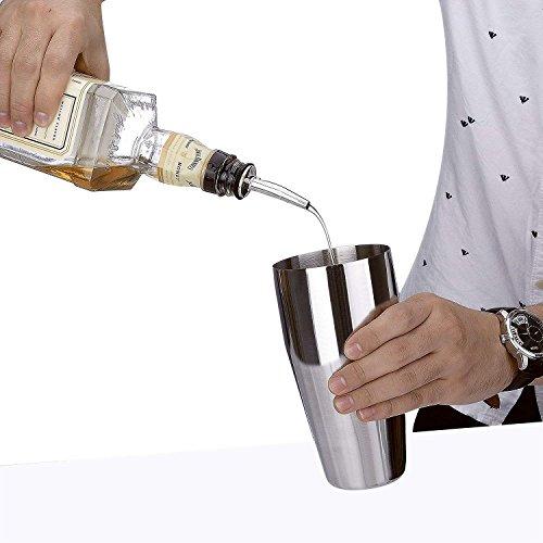 Cocktail Shaker Set Stainless Steel 6 PCS, TEPSMIGO Home Bar Cocktail Making Set Includes 24 Ounce Cocktail Shaker /10 Inch Mixing Spoon and Muddler/ Cocktail Jigger/ Liquor Pourer, Silver by TEPSMIGO (Image #2)