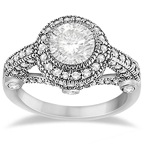 Byzantine White Gold Ring (Vintage Diamond Halo Art Deco Engagement Ring Byzantine Style For Women 18k White Gold (0.97ct))