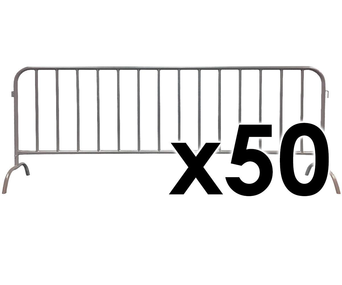 Electriduct 8.5 Feet Heavy Duty Steel Barrier Interlocking Crowd Control Barricade with Galvanized Finish Pack of 50 Barricades