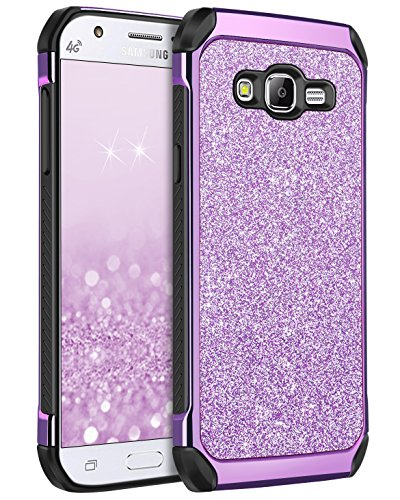 BENTOBEN Galaxy J7 Case 2015, J700 Case, Shockproof Luxury Glitter Bling Slim 2 in 1 Hybrid Hard Cover with Sparkly Shiny Faux Leather Protective Phone Case for Samsung Galaxy J7 J700 (2015) Purple