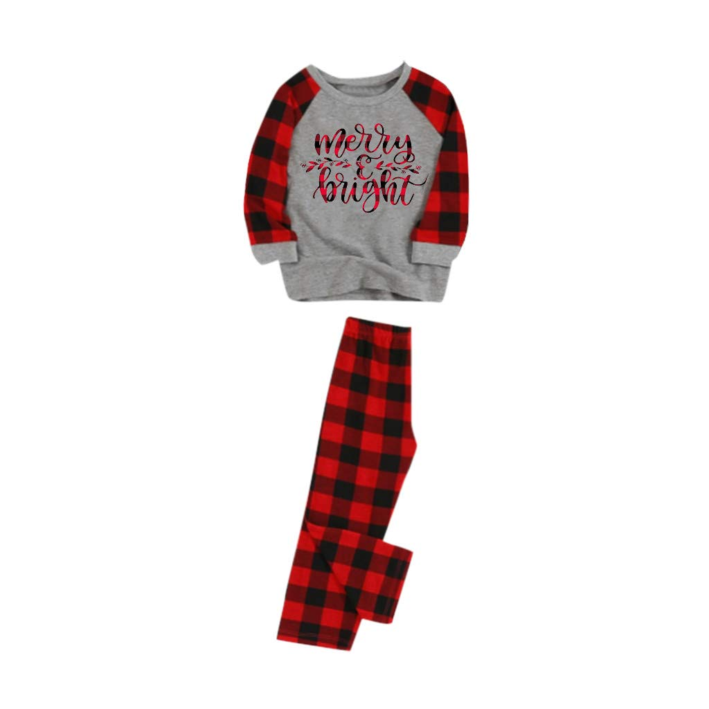 Voberry Christmas Pajamas for Family Matching Sets Christmas PJ's with Tee and Plaid Pants Loungewear Upgrade by Voberry@123
