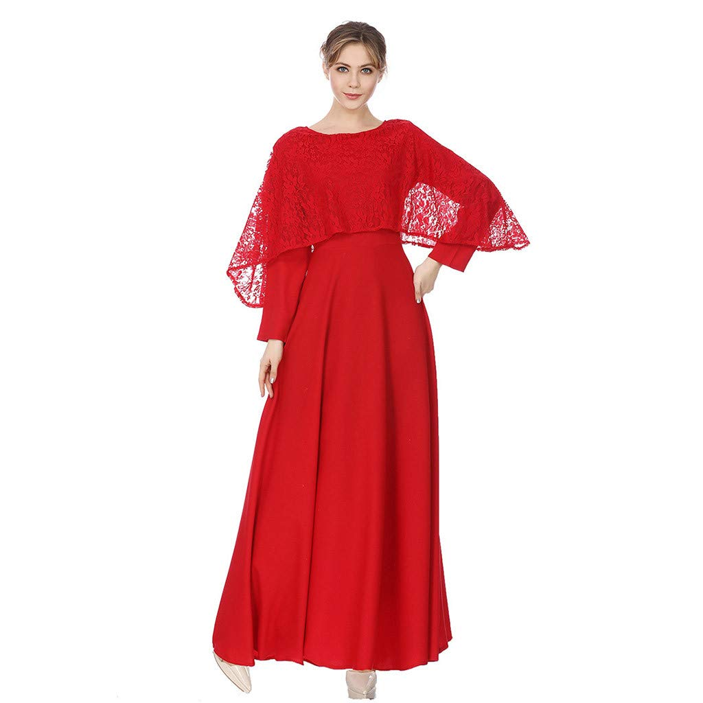 Lady Large Size Casual Dresses, Clearance!Women Muslim Dress Clothing National Wind Robes Hight Wasit Loose Maxi Dress