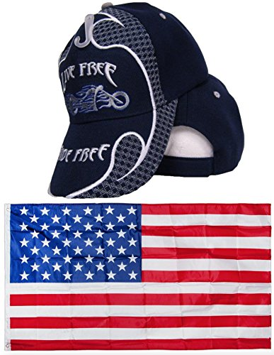 Dark Navy Blue Live Free Ride Free Motorcycle Embroidered Hat Cap & USA Flag 3x5 Super Polyester Nylon 3'x5' Banner Grommets Double Stitched Premium Quality