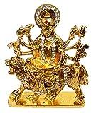 Purpledip Metal Idol Maa Durga Sherawali MATA Glittering Stones Statue (11849)