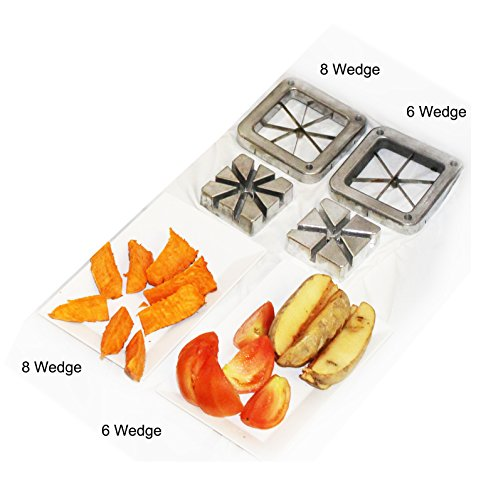 Tiger Chef Heavy Duty Commercial Grade French Fry Cutter Replacement Blades Set includes 6 and 8 Wedge Blades and Pusher Blocks- Compatible with Winco, Thunder Group, Update international, Weston, Excellante, and New Star Brand French Fry Cutters (4 Piece Blade Set) International French Fry Cutter