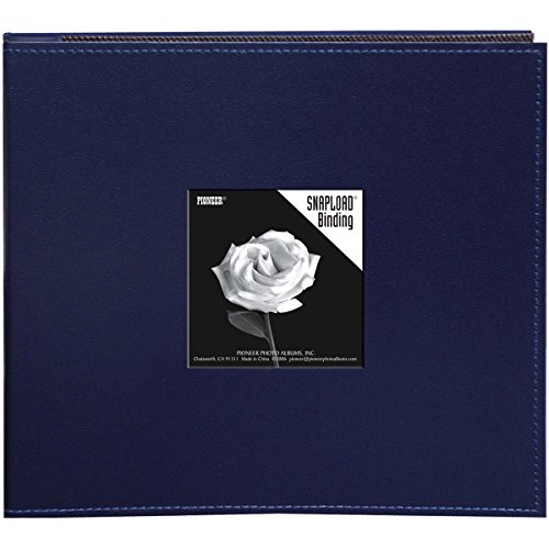Pioneer 8 Inch by 8 Inch Snapload Sewn Leatherette Frame Cover Memory Book, Navy Blue