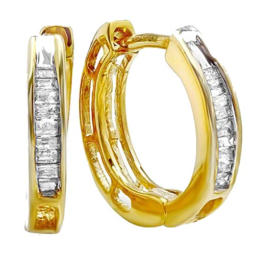 0.10 Carat (ctw) 18K Yellow Gold Plated Sterling Silver Baguette Diamond Huggies Hoop Earrings 1/10 CT
