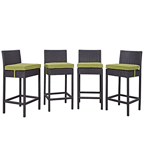 Modway Convene Wicker Rattan Outdoor Patio Bar Stools With Cushions in Espresso Peridot - Set of 4