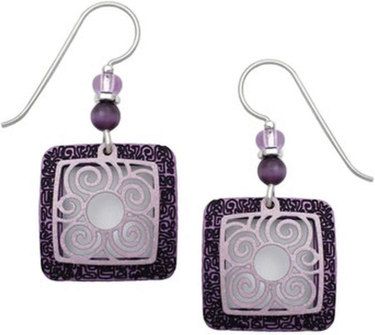 Adajio by Sienna Sky Purple Square Filigree Earrings 7281