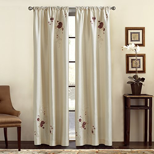 Panel Window Alesandra (CHF & You Alesandra Floral Embroidered Faux Silk Window Curtain Panel, Ivory, 44-Inch X 63-Inch by CHF & You)