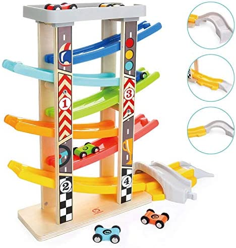 TOP BRIGHT Toddler Toys Race Track for 1 2 Year Old Boy Gifts Wooden Car Ramp Racer with 6 Mini Cars(並行輸入品)